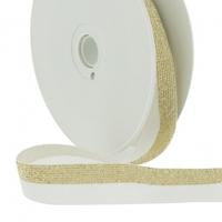 Biais élastique 20mm lurex or blanc x10cm