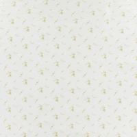 Double gaze lisse FDS fleurs or fond blanc 20 x 140 cm