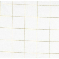 Double gaze lisse FDS carreaux or fond blanc 20 x 140 cm
