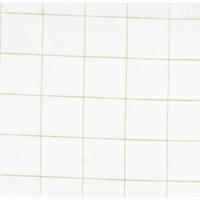 Double gaze lisse FDS carreaux or fond blanc 20 x 140 cm