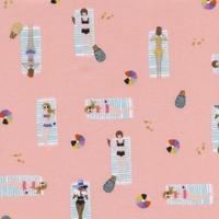 Tissu Amalfi Sun Girls nageuses coloris Coral 20 x 110 cm