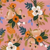 COUPON de Viscose Rifle Paper Amalfi Lively Floral coloris Coral 84 x 110 cm