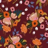 Viscose Rifle Paper Amalfi Lively Floral coloris Burgundy 20 x 110 cm