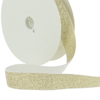Elastique lurex 20mm or fond blanc x10cm