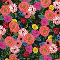 Viscose Rifle Paper English Garden Juliet Rose (navy) 20 x 110 cm