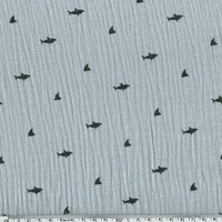 Tissu double gaze de coton requins coloris gris clair 20 x 140 cm
