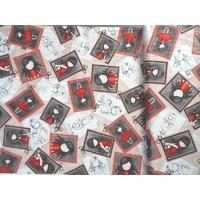 Tissu Gorjuss Letters from the Heart fond beige 20 x 110 cm