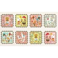 Tissu Whimsical Storybook rose et vert 60 x 110 cm