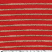 Jersey rayé lurex doré fond rouge 20 x 140 cm