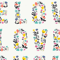 Tissu Letters Love Blooms 20 x 110 cm