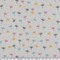 Velours milleraies pissenlits fond gris clair 20 x 140 cm