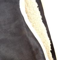 COUPON de suédine doublée fausse fourrure coloris noir 1m60 x 140 cm
