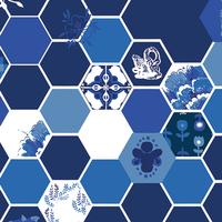 Tissu In Blue Hexiesis Lazuli 20 x 110 cm