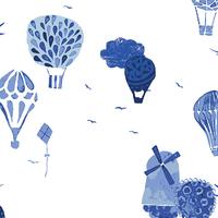 Tissu In Blue Fly Away Vroeg 20 x 110 cm