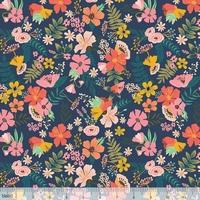 Tissu Floral Pets fleurs fond foncé 20 x 110 cm