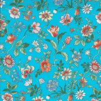 Viscose Liberty Tiger Lily fond turquoise coloris A 20 x 133 cm