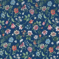 Viscose Liberty Tiger Lily fond marine coloris B 20 x 133 cm