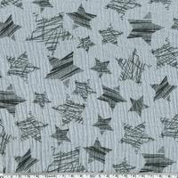 Tissu double gaze de coton à grosses étoiles coloris gris clair 20 x 140 cm