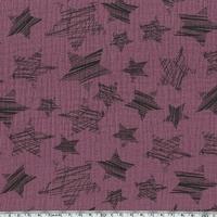Tissu double gaze de coton à grosses étoiles coloris cassis 20 x 140 cm