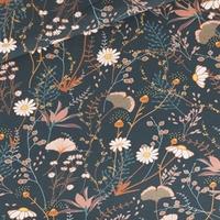 "Sweat léger ""French Terry"" imprimé Flower Field coloris night blue 20 x 150 cm"
