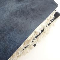 COUPON de suédine doublée fausse fourrure coloris gris 1m60 x 140 cm