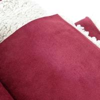 COUPON de suédine doublée fausse fourrure coloris grenat 1m60 x 140 cm