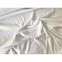 Jersey fin blanc à pois argent 20 x 130 cm