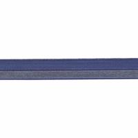 Biais élastique 17mm bleu rayé lurex doré x 10cm