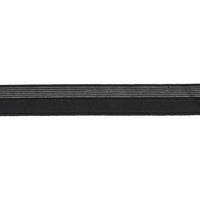 Biais élastique 17mm noir rayé lurex argent x 10cm