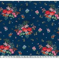 Jersey Rose-Anna fond bleu 20 x 140 cm