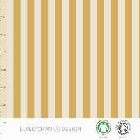 Jersey Rayures verticales Gold et Crème 20 x 160 cm