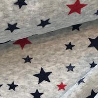 """Jersey velours """"pyjama"""" étoiles rouge et marine fond gris 20 x 160 cm"""