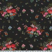 Jersey Rose-Anna fond noir 20 x 140 cm