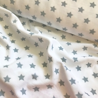"Jersey velours ""pyjama"" étoiles grises fond blanc 20 x 180 cm"