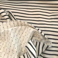 Jersey double rayure marine et beige / mini étoiles 20 x 135 cm