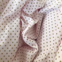 "Jersey velours ""pyjama"" pois or fond rose pâle 20 x 180 cm"
