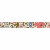 Biais Liberty Poppy and Daisy rose et bleu coloris C 50cm