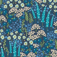 Viscose Catch and release Blue Bank Flora 20 x 138 cm
