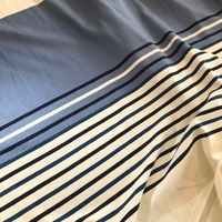 Panneau maille polo nervurée bleu 22 cm / rayures 25 cm / écru 21 cm x 150 cm