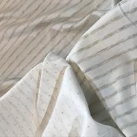 Jersey double rayé taupe chiné envers pois 20 x 135 cm