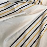 Panneau maille polo légère écru 27 cm / rayures jaune et noir 12 cm x 140 cm