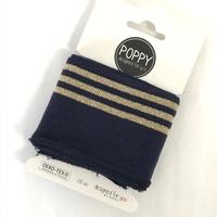 Bord-côte Poppy Cuffs marine et doré