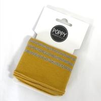 Bord-côte Poppy Cuffs moutarde et doré