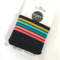 Bord-côte Poppy Cuffs noir et arc-en-ciel