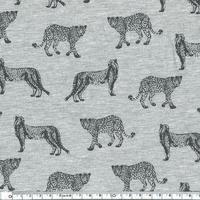 Jersey Guépard fond gris chiné par 20 x 140 cm