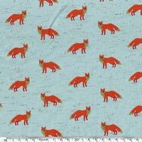 Jersey renards fond menthe chiné 20 x 140 cm