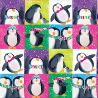 COUPON de Tissu Let's be Jolly Vignettes Pingouins 1m x 110 cm