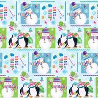 COUPON Tissu Let's be Jolly Pingouins et bonshommes de neige 1m x 110 cm