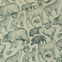 """Sweat léger """"French Terry"""" imprimé Forest Animals coloris aqua gris 20 x 150 cm"""