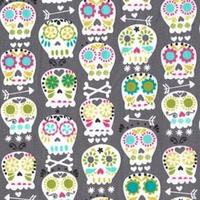 Tissu Skulls coloris gris 20x110 cm